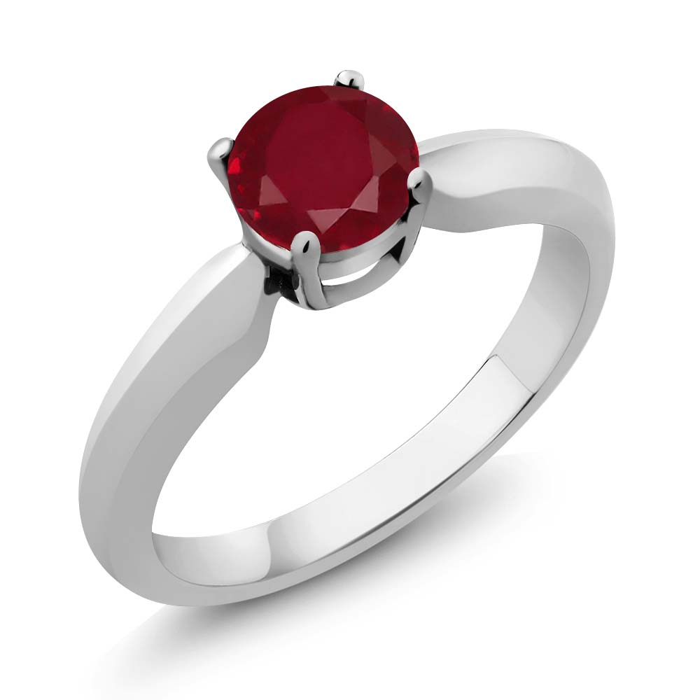 0.56 Ct Round Red Ruby Sterling Silver Ring