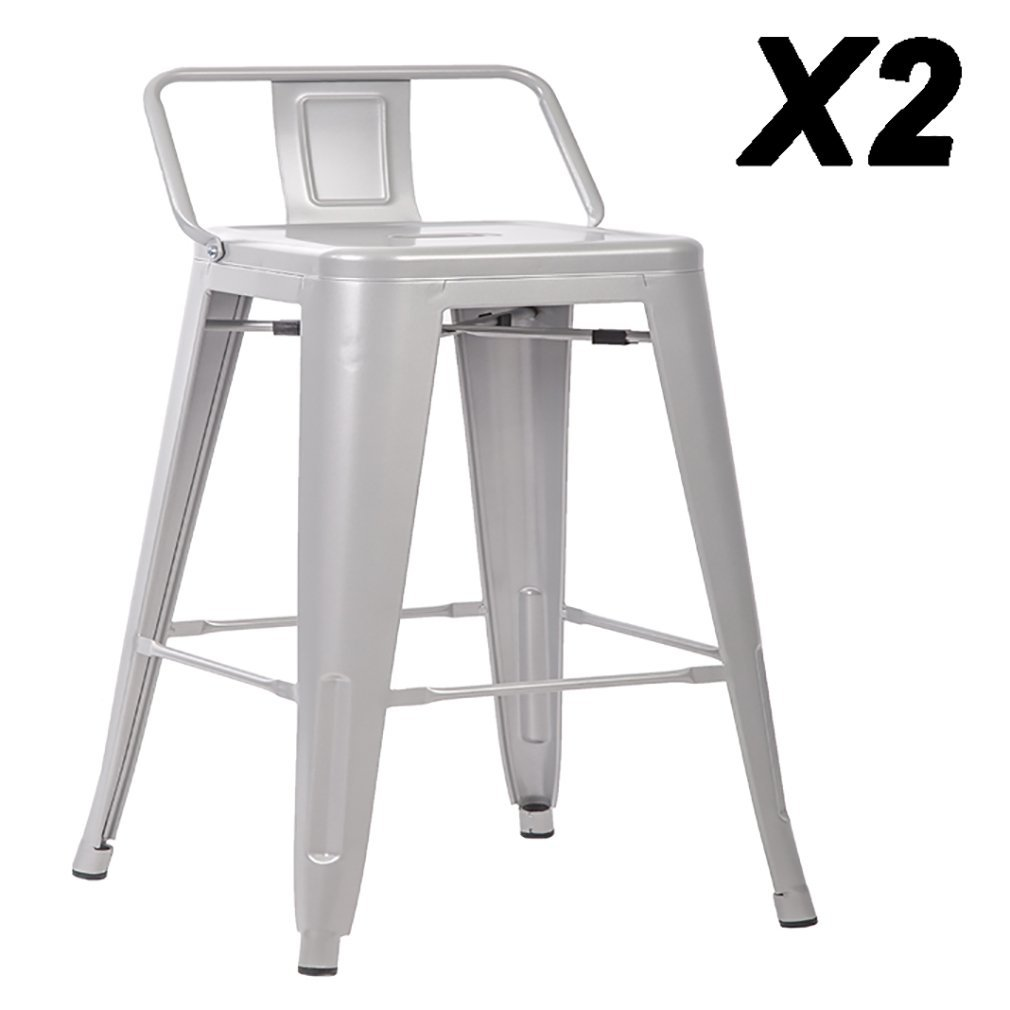 24 Metal Frame Tolix Style Bar Stools Industrial Chair With Back