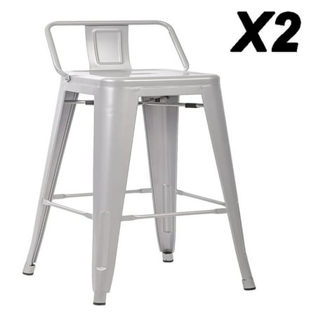 Wondrous 24 Metal Frame Tolix Style Bar Stools Industrial Chair With Back Set Of 2 Pabps2019 Chair Design Images Pabps2019Com