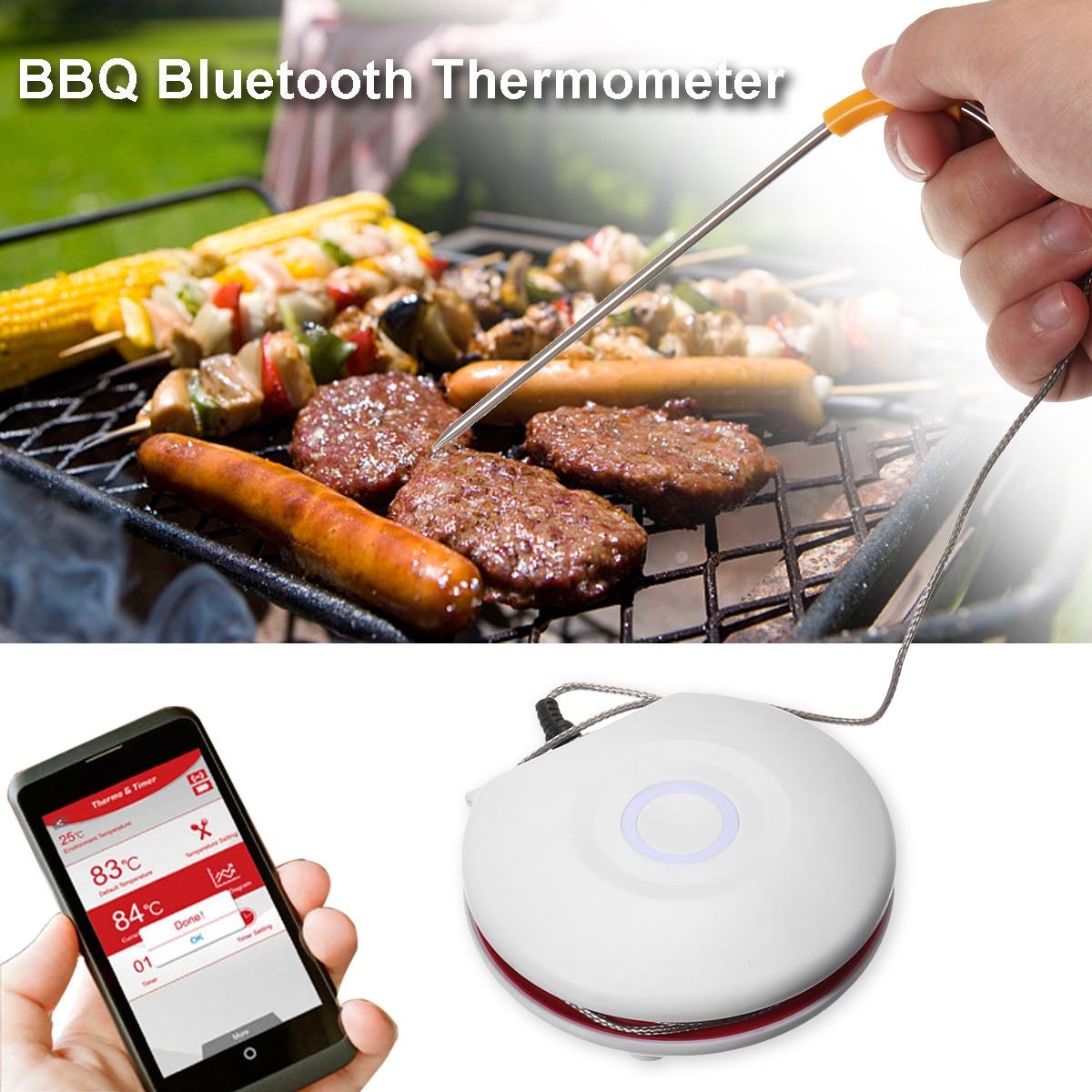 Bluetooth Wireless Digital Meat Thermometer Kitchen Cooking Timer Outdoor BBQ Thermometer