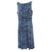 Jessica Howard NEW Blue Women's 6P Petite Abstract Ruched Sheath Dress $69