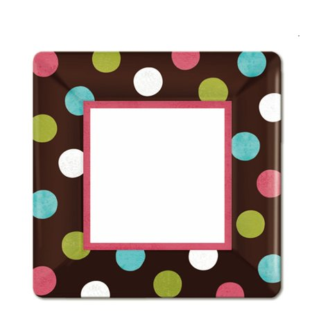 Amscan Disposable Paper Dessert Plates in Chocolate Multicolored Polka Dots (8 Pack), 7 x 7
