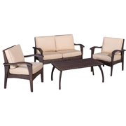 4-Pc Outdoor Wicker Seating Set in Brown