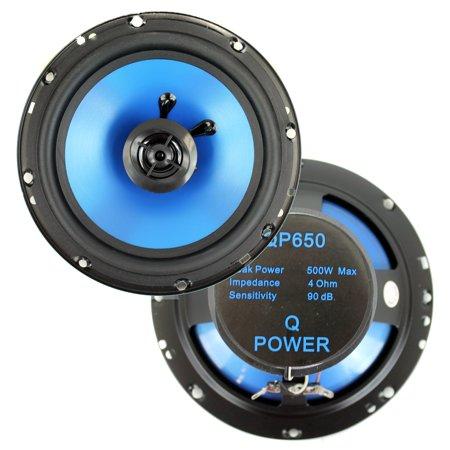 "2) Q POWER 6.5"" 300 Watt 2-Way Blue Car Audio Stereo Coaxial Speakers | QP650"