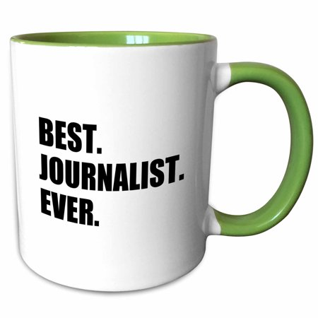 3dRose Best Journalist Ever, fun gift for talented newspaper magazine writers - Two Tone Green Mug,