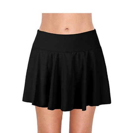 Skirted Swim Bottom (Fymall Women's Swim Skirt with Briefs Solid Ruffle Skirted Bikini Tankini)