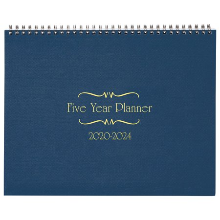 "2 Year Pocket Calendar (5-Year Calendar Planner, 2020-2024 Monthly Schedule Organizer Flip Calendar Diary with Tabs, Spiral Bound Top, Blue, 8 ½"" Wide x 11"")"