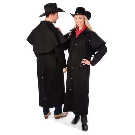 Black Duster Jacket - Adult Black Denim Cotton Western Duster Jacket