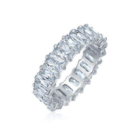 Art Deco Style AAA CZ Eternity Baguette Anniversary Wedding Band Cubic Zirconia Engagement Ring 925 Sterling Silver