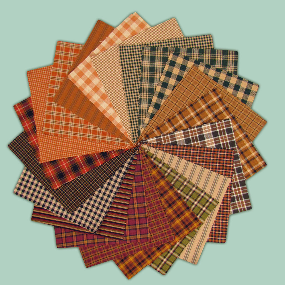 40 Autumn Spice Homespun 5 inch Quilt Squares by JCS