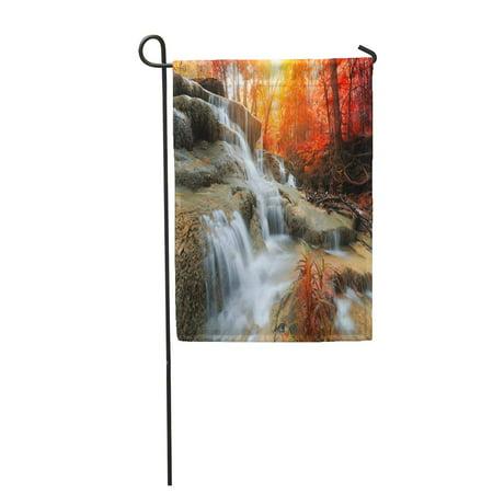 SIDONKU The Landscape Huay Mae Kamin Waterfall Beautiful in Autumn Forest Kanchanaburi Garden Flag Decorative Flag House Banner 28x40 inch ()