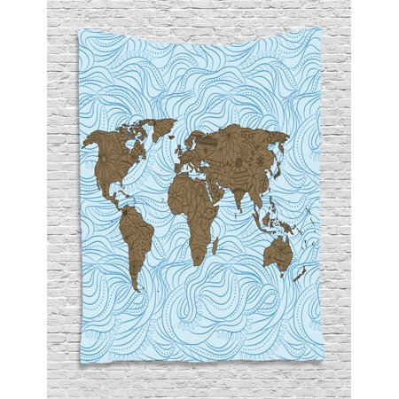 Modern Tapestry, World Map with Wavy Ocean Lines and Flower Themed on