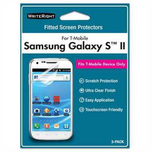 WriteRight Screen Protector for Samsung Galaxy S II, 3pk