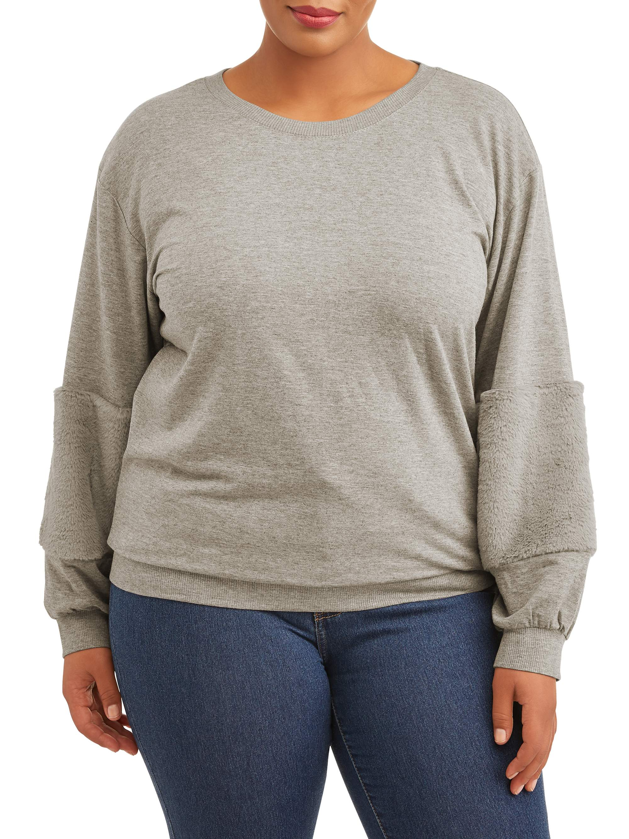Juniors' Plus Size Faux Fur Trim Sleeve Sweater