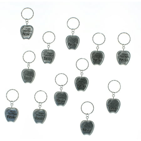 Lot of 12 Metal Apple Silvertone Teacher Keychains Class Student Gift
