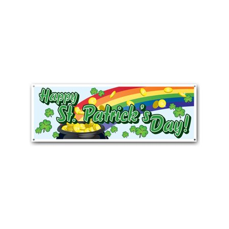 Happy Saint Patrick's Day Pot Of Gold Rainbow Banner Flag Decoration - Rainbow With Pot Of Gold