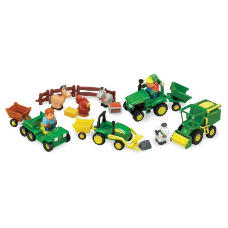 John Deere 1st Farming Fun, Fun on the Farm Toddler Tractor Set With Farmers and Animals, 20 Pieces Farm And Tractor