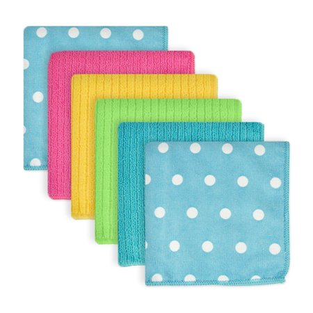 "Set of 6 Blueberry Polka Dotted Pattern Square Dishtowels 12"" x 12"" for $<!---->"