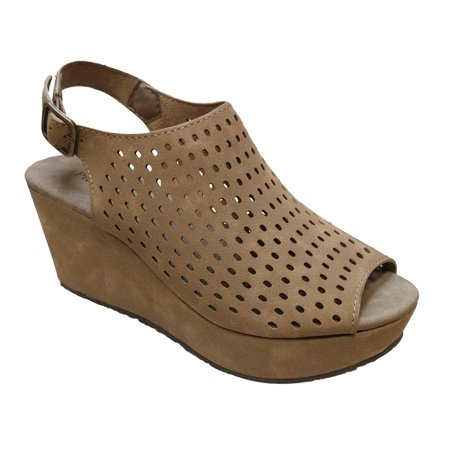 Slingback Cork Wedges - Pierre Dumas Women's Natural 9 Taupe Suede Perforated Slingback Fashion Wedge Size: 11