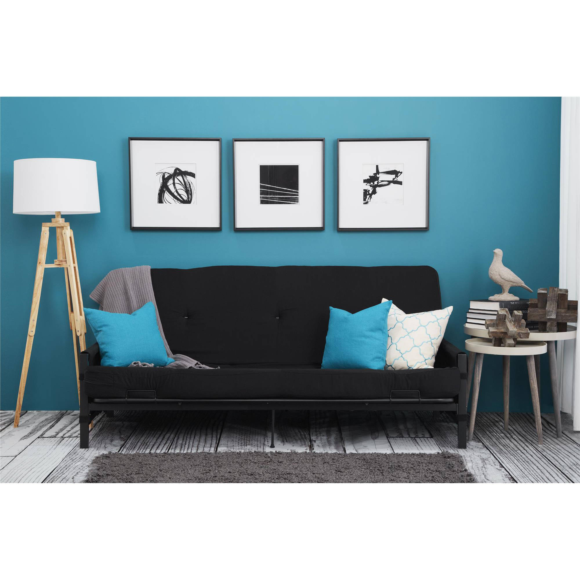 "Mainstays Fairview Storage Arm Futon with 6"" Mattress, Black"