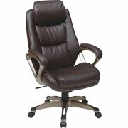 Executive Leather Office Chair with Headrest, Black