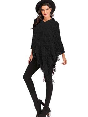 SAYFUT Fashion Knit Tassel Fringed Pullover Poncho Sweater Cape Shawl Wrap for Women