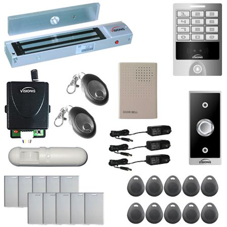 Visionis FPC-5630 One Door Access Control Outswinging Door 600lbs Maglock with VIS-3004 Outdoor Weatherproof Metal Touch Keypad/Reader Standalone No Software 2000 Users with Wireless Receiver PIR Kit (Cabinet Software)