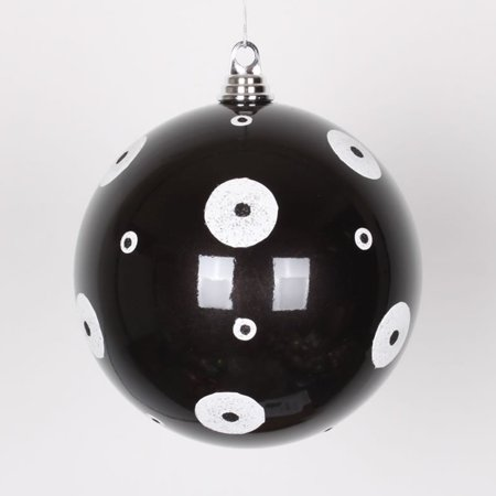 Dots Ornament - Candy Black with White Glitter Polka Dots Christmas Ball Ornament 8