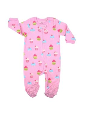 Elowel Little Girls Pink Cupcake Print Footed Fleece Sleeper Pajama
