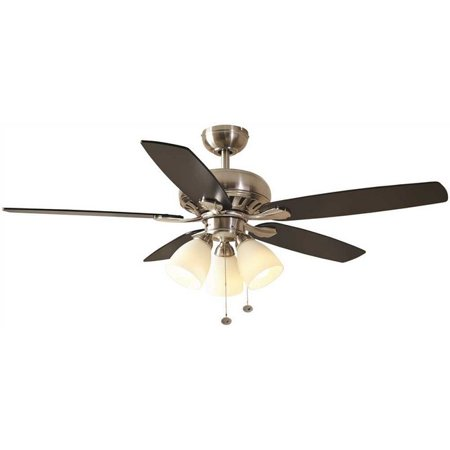 Hampton Bay 3572984 Rockport 52 In. Led Indoor Brushed Nickel Ceiling Fan With Light Kit