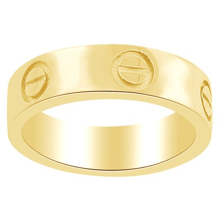 Unisex Men Women 14K Yellow Gold Over Sterling Silver Screw Wedding Band Ring, 5.5mm, Ring Size: 4 (Gold Sterling Ladies Band Rings)