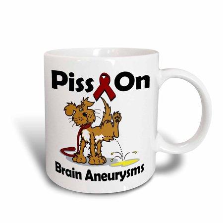 3dRose Piss On Brain Aneurysms Awareness Ribbon Cause Design, Ceramic Mug, (Awareness Mug)