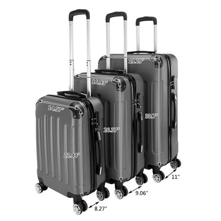 3Pcs Luggage Set PC+ABS Trolley Spinner 20/24/28 Suitcase Travel Bags Hard Shell