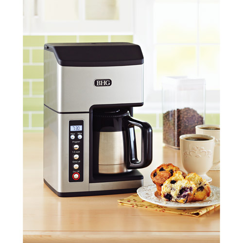 Better Homes and Gardens Fully Automatic Thermal 10-Cup Grind & Brew Coffee Maker, Silver
