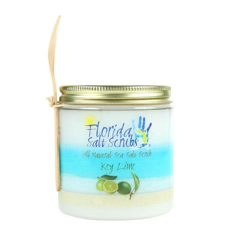 Florida Salt Scrubs Key Lime Body Feet Hands Bath Salt Scrub 12.1 oz Jar (Linen Scrubs)