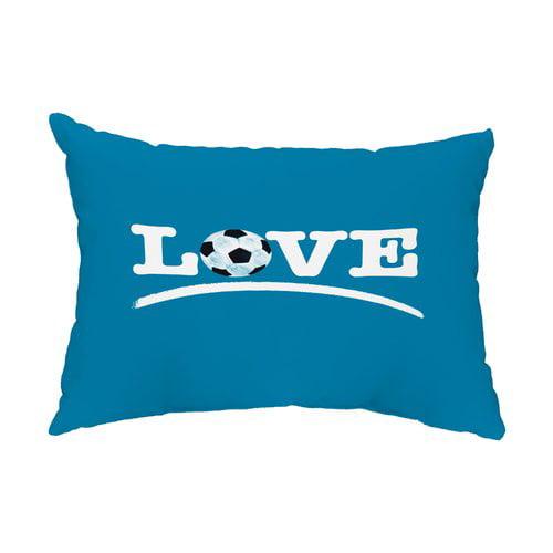 Zoomie Kids Hunstant Love Soccer Indoor/Outdoor Lumbar Pillow