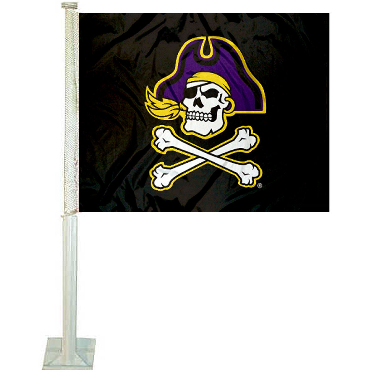 "East Carolina University Black 12"" x 15"" Car Flag"