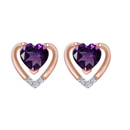 Simulated Amethyst & White Natural Diamond Accent 10K Solid Rose Gold Heart Stud Earrings (0.44 Cttw)
