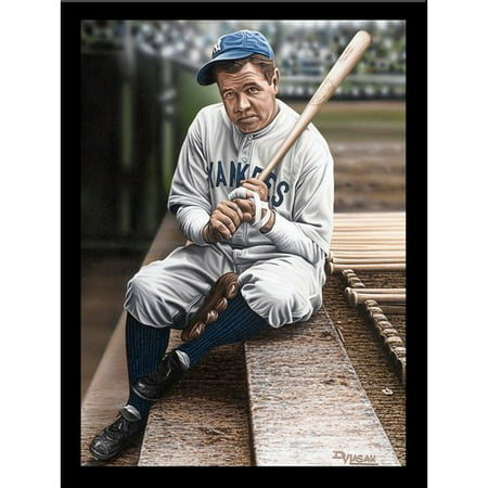 (Buy Art For Less 'Babe Ruth Sitting on the Top Step of Dugout' Print Poster by Darryl Vlasak Framed Memorabilia)