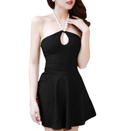 Women Pullover Solid Color Form-Fitting Mini Black Dress XS