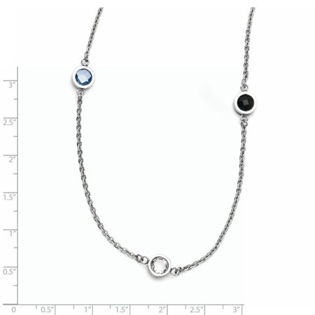 Stainless Steel Polished CZ Necklace 36.5 Inch - image 1 de 3