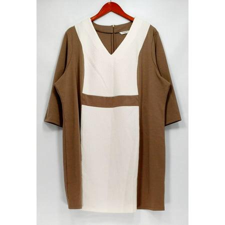 Liz Claiborne New York Petite Size Dress 26P V-Neck Ponte Beige - Liz Claiborne Scarf