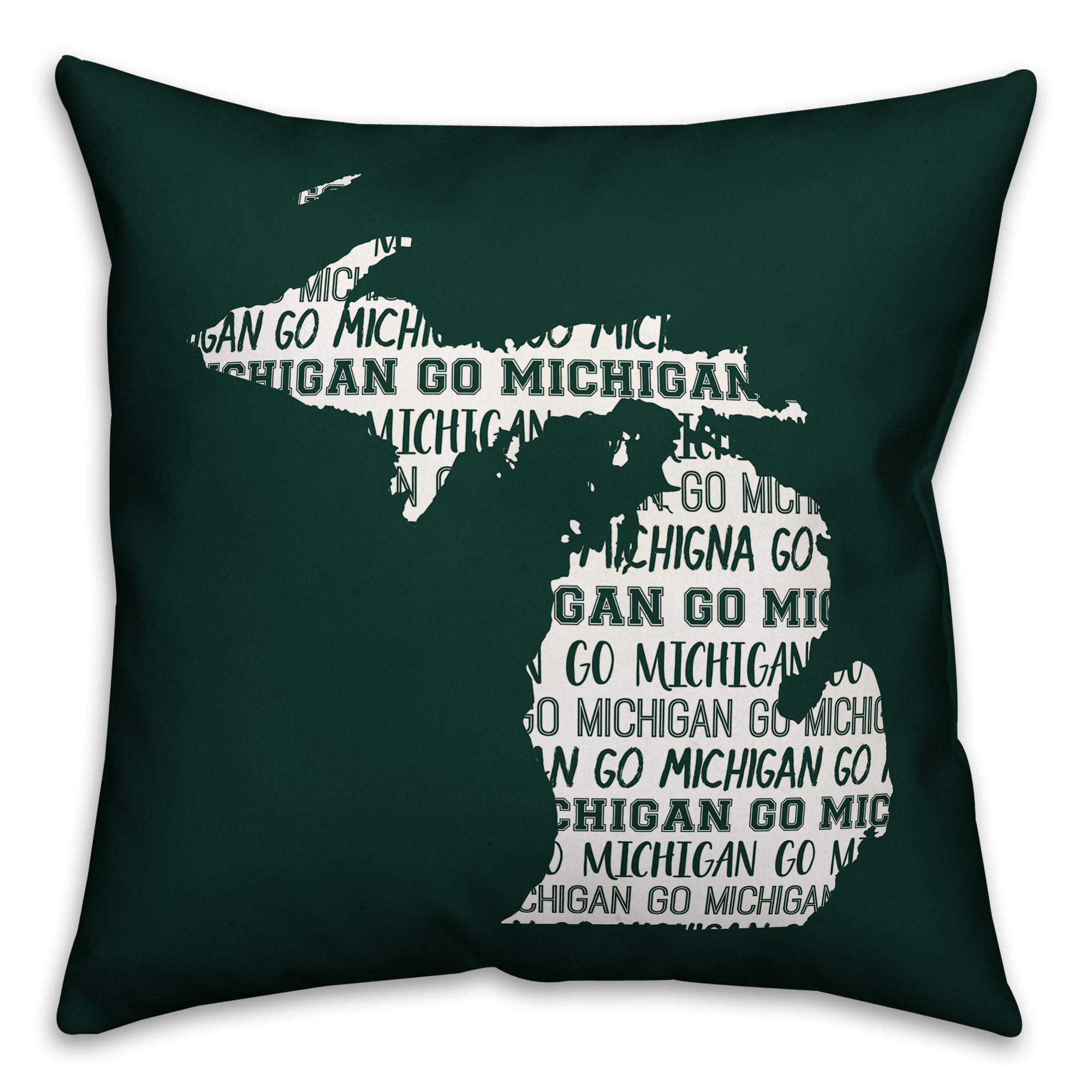 Green Michigan Go Team 16x16 Spun Poly Pillow