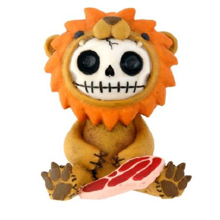 Furrybones Raion Skeleton in a Lion Costume with a Steak Figurine Statuette New