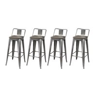 GIA Design Group 30 Inch Low Back Metal Stool Chair with Wood Seat, Gunmetal - Set of 4