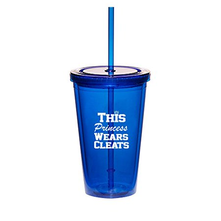 16oz Double Wall Acrylic Tumbler Cup With Straw Softball Baseball Lacrosse This Princess Wears Cleats (Blue) - Cleatus Cups