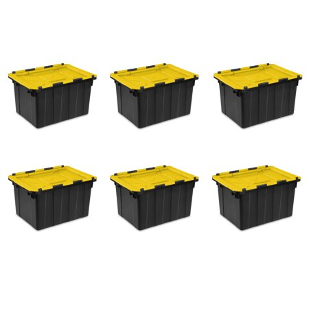 Sterilite, 12 Gal./45 L Hinged Lid Industrial Tote, Yellow Lily, Case of 6