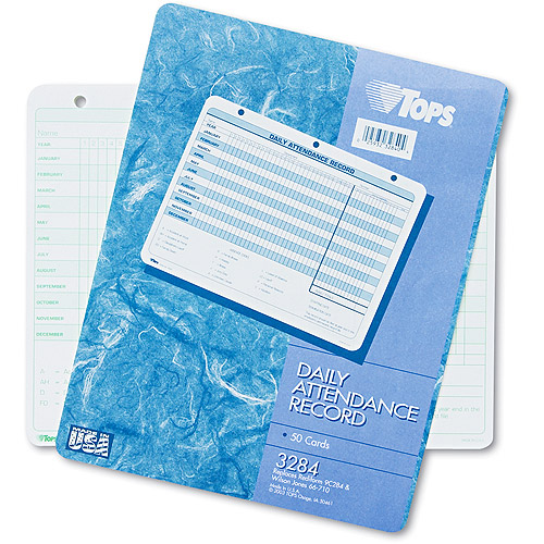 TOPS Daily Attendance Card, 8-1/2 x 11, 50 Forms