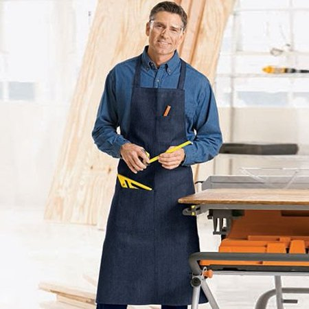Navy Blue Apron (3 PACK COMMERCIAL GRADE NAVY BLUE DENIM APRON WITH 1 PEN AND HAND)