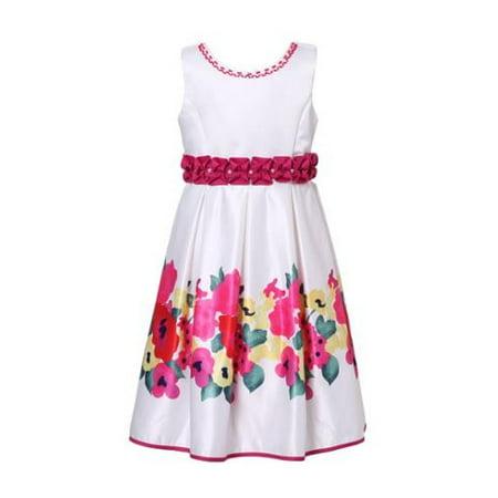 Little Girls White Fuchsia Flower Patterned Bead Party Dress 6